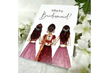 Bridesmaid Card - Girls in Lehenga