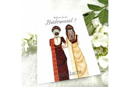 Bridesmaid Card - Girls in Saree